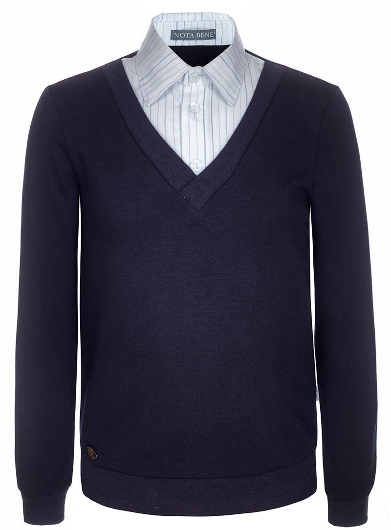 Джемпер для мальчика Nota Bene, цвет: темно-синий. CJK17017B29. Размер 152CJK17017A29/CJK17017B29Джемпер для мальчика Nota Bene выполнен из хлопкового трикотажа. Модель 2-в-1 с длинными рукавами дополнена вставкой, имитирующей рубашку.