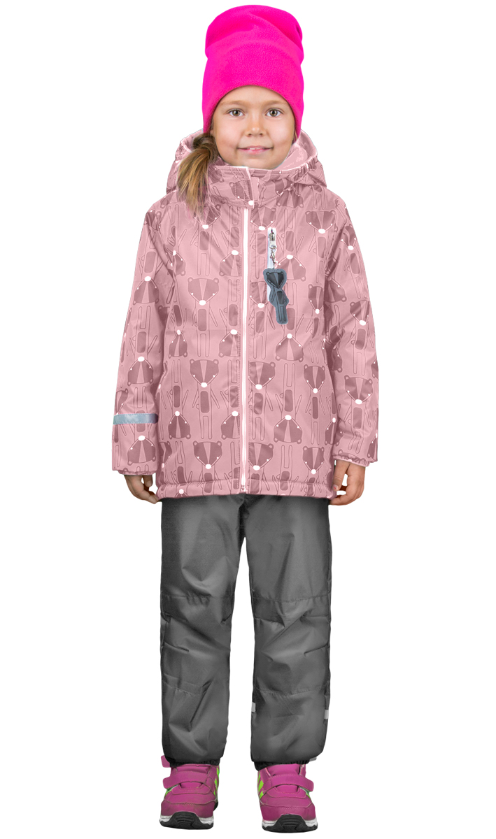 Комплект верхней одежды для девочки Boom!: куртка, брюки, цвет: розовый, серый. 70322_BOG_вар.1. Размер 86, 1,5-2 года70322_BOG_вар.1Комплект для девочки Boom! включает в себя куртку и брюки. Куртка с длинными рукавами и капюшоном выполнена из прочного полиэстера и имеет подкладку из полиэстера и флиса. Модель застегивается на застежку-молнию спереди и оформлено принтом. Куртка имеет два прорезных кармана спереди и один карман на застежке - молнии. Теплые брюки на талии дополнены широкой эластичной резинкой. Комплект дополнен светоотражающими элементами.