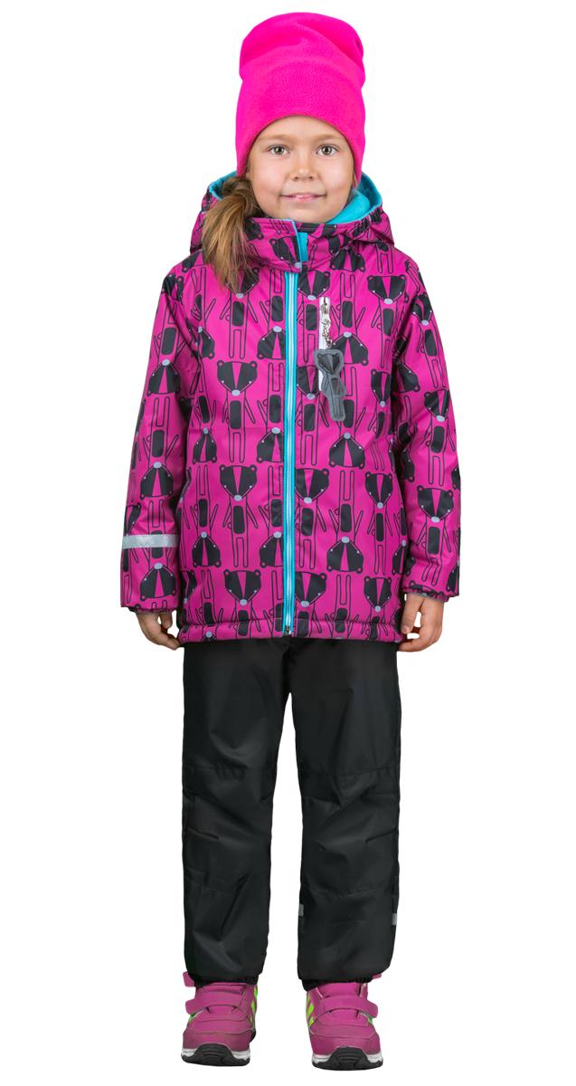 Комплект верхней одежды для девочки Boom!: куртка, брюки, цвет: малиновый, черный. 70322_BOG_вар.2. Размер 116, 5-6 лет70322_BOG_вар.2Комплект для девочки Boom! включает в себя куртку и брюки. Куртка с длинными рукавами и капюшоном выполнена из прочного полиэстера и имеет подкладку из полиэстера и флиса. Модель застегивается на застежку-молнию спереди и оформлено принтом. Куртка имеет два прорезных кармана спереди и один карман на застежке - молнии. Теплые брюки на талии дополнены широкой эластичной резинкой. Комплект дополнен светоотражающими элементами.