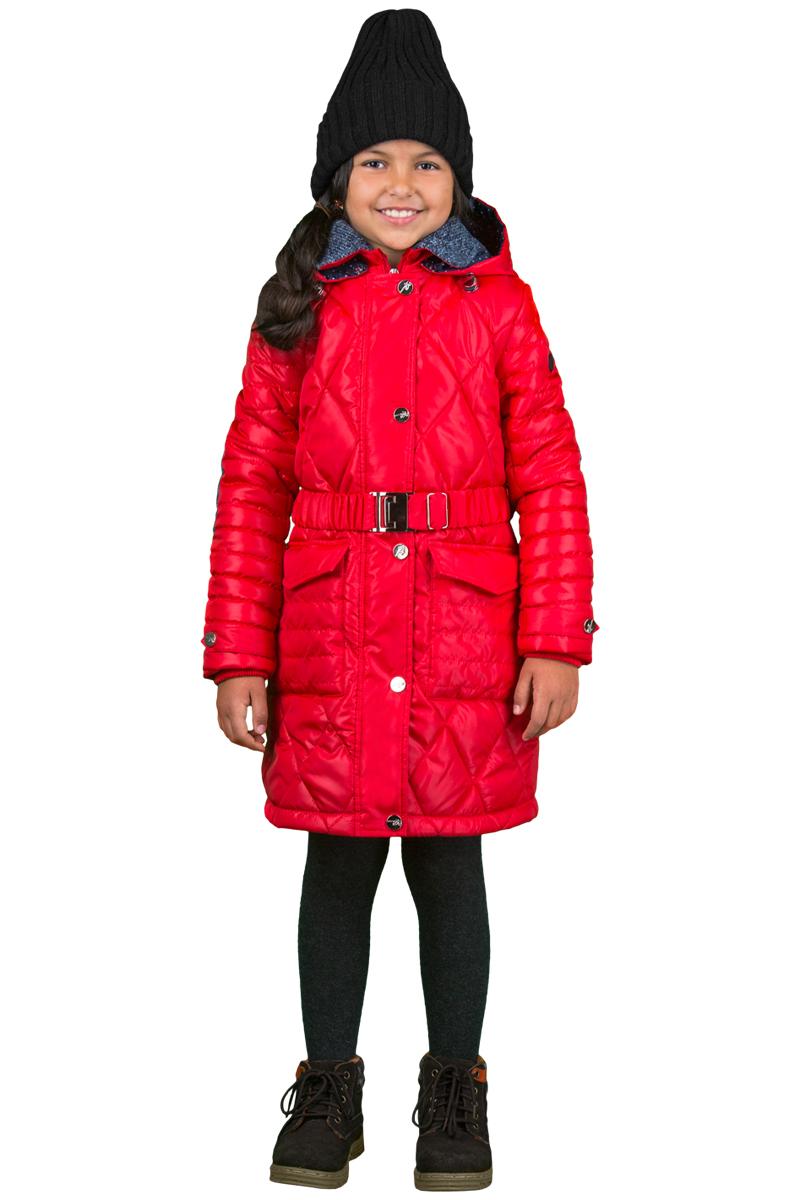 Пальто для девочки Boom!, цвет: красный. 70325_BOG_вар.1. Размер 128, 7-8 лет70325_BOG_вар.1