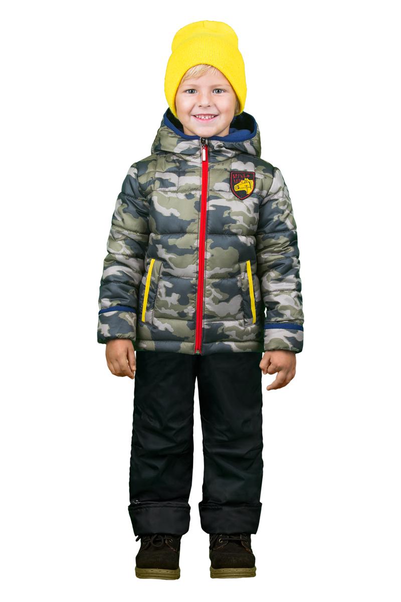 Комплект верхней одежды для мальчика Boom!: куртка, брюки, цвет: хаки, черный. 70334_BOB_вар.1. Размер 92, 1,5-2 года70334_BOB_вар.1Комплект верхней одежды для мальчика Boom! состоит из куртки и брюк. Комплект выполнен из полиэстера. Куртка с капюшоном застегивается спереди на молнию и дополнена спереди фирменной нашивкой. На рукавах предусмотрены манжеты, препятствующие проникновению холодного воздуха. Спереди расположены два прорезных кармана на застежках-молниях. Теплые брюки дополнены эластичными наплечными лямками, регулируемыми по длине. На талии предусмотрена широкая резинка. Комплект снабжен светоотражающими элементами.