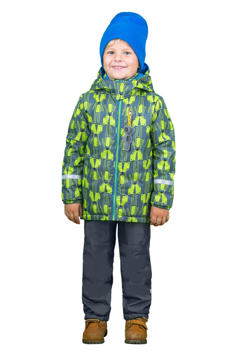 Комплект верхней одежды для мальчика Boom!: куртка, брюки, цвет: серый, салатовый. 70335_BOB_вар.1. Размер 110, 5-6 лет70335_BOB_вар.1Комплект верхней одежды для мальчика Boom! состоит из куртки и брюк. Комплект выполнен из полиэстера. Куртка с капюшоном застегивается спереди на молнию и оформлена принтом. На рукавах предусмотрены эластичные резинки. Спереди расположен прорезной карман на застежке-молнии. Теплые брюки дополнены на талии широкой резинкой. Комплект снабжен светоотражающими элементами.