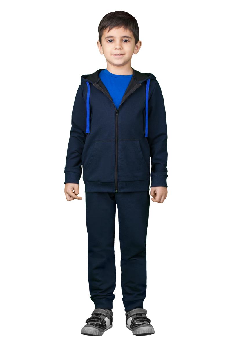 Спортивный костюм для мальчика Boom!, цвет: синий. 70814_BLB_вар.3. Размер 158, 11-12 лет70814_BLB_вар.3Спортивный костюм для мальчика Boom! состоит из толстовки и брюк. Костюм изготовлен из высококачественного материала. Толстовка с капюшоном и длинными рукавами застегивается на молнию. Манжеты и низ модели дополнены трикотажной резинкой. Толстовка дополнена спереди двумя накладными карманами. Спортивные брюки прямого кроя в поясе имеют широкую эластичную резинку.
