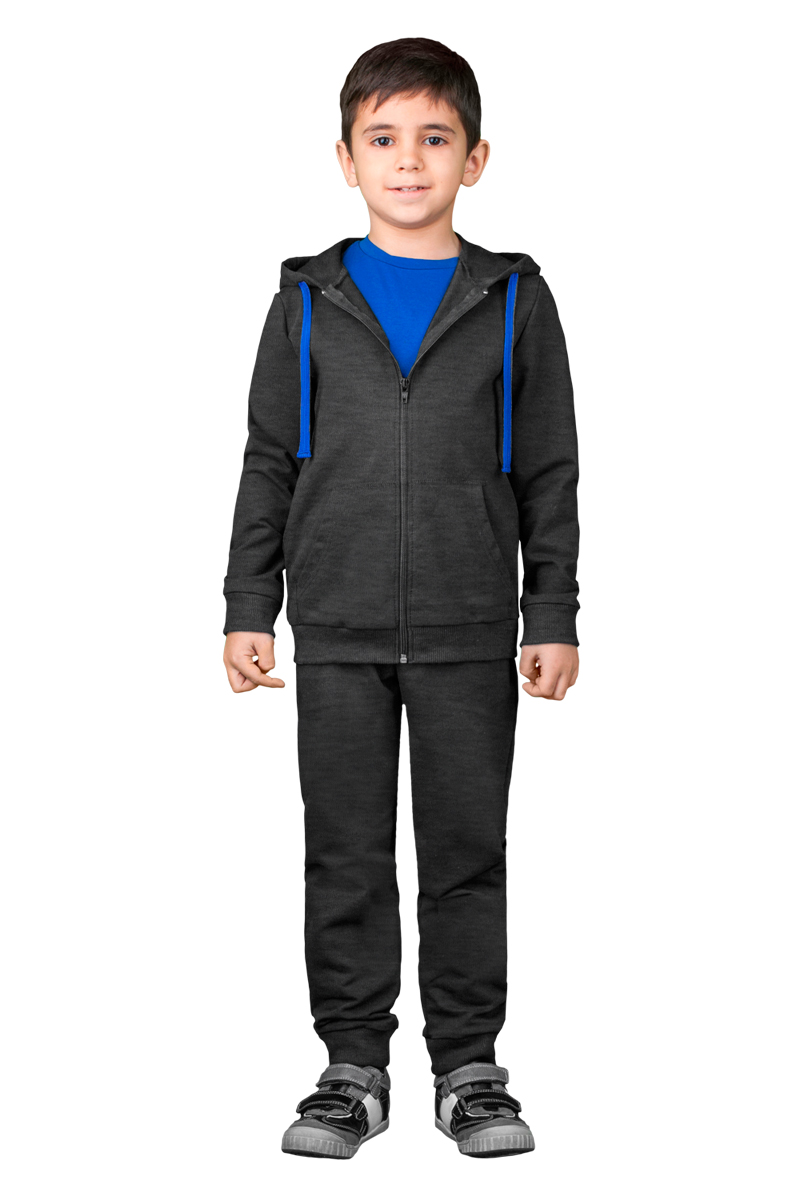 Спортивный костюм для мальчика Boom!, цвет: серый. 70814_BLB_вар.2. Размер 134/140, 9-10 лет70814_BLB_вар.2Спортивный костюм для мальчика Boom! состоит из толстовки и брюк. Костюм изготовлен из высококачественного материала. Толстовка с капюшоном и длинными рукавами застегивается на молнию. Манжеты и низ модели дополнены трикотажной резинкой. Толстовка дополнена спереди двумя накладными карманами. Спортивные брюки прямого кроя в поясе имеют широкую эластичную резинку.