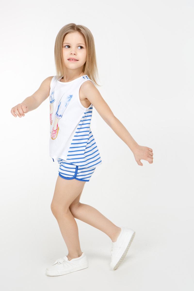 Шорты для девочки Overmoon Venta1, цвет: синий, белый. 21220420002_500. Размер 10421220420002_500Короткие шорты Overmoon Venta1 из трикотажа в яркую полоску. Модель с поясом на эластичной резинке и завязках и боковыми карманами.