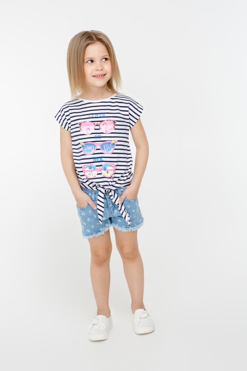 Футболка для девочки Overmoon by Acoola Cristal1, цвет: синий, белый. 21220110009_8000. Размер 12821220110009_8000Трикотажная футболка Overmoon Cristal1 в полоску, декорированная ярким принтом спереди. Модель с круглым вырезом горловины и декоративным узлом снизу.