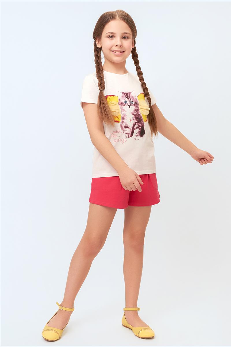 Шорты для девочки Overmoon Ala, цвет: розовый. 21210420005_1400. Размер 14021210420005_1400Короткие шорты Overmoon Ala из трикотажа яркой расцветки, с декоративными защипами спереди. Модель с поясом на эластичной резинке, боковыми карманами и задними накладными карманами.