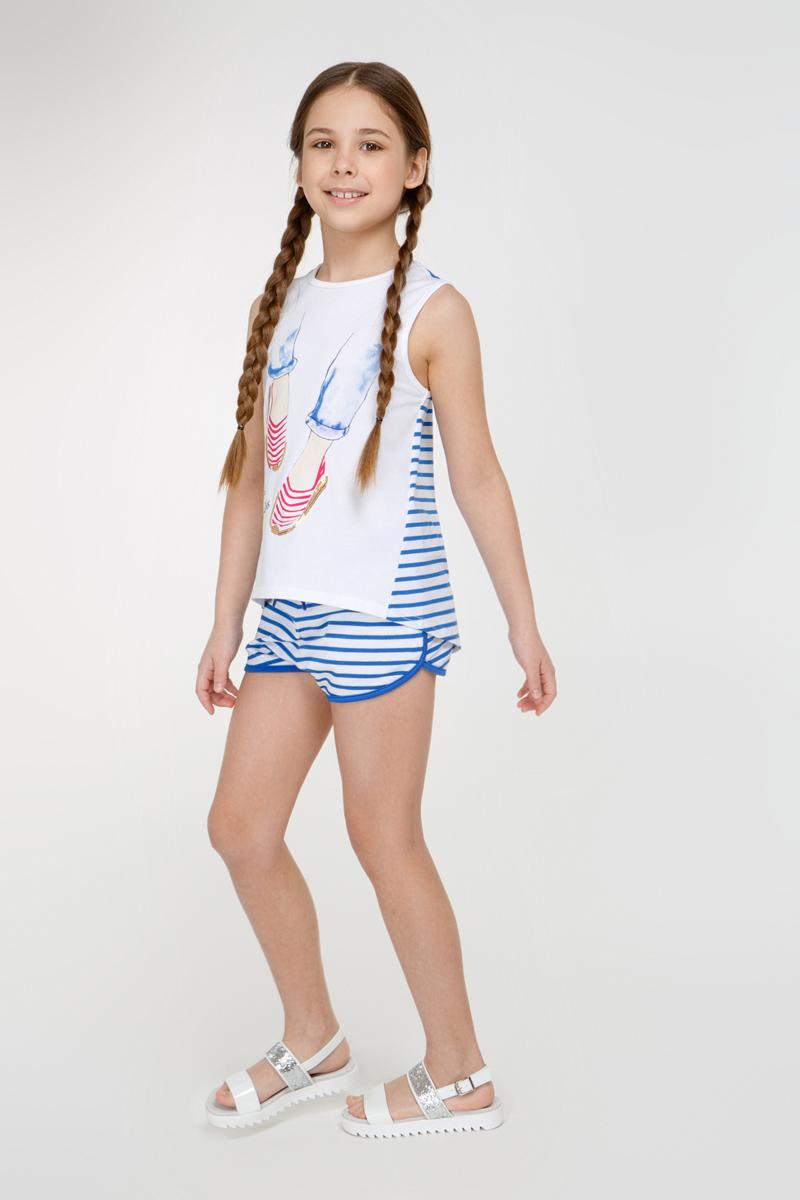 Шорты для девочки Overmoon Venta1, цвет: синий, белый. 21210420002_500. Размер 13421210420002_500Короткие шорты Overmoon Venta1 из трикотажа в яркую полоску. Модель с поясом на эластичной резинке и завязках и боковыми карманами.