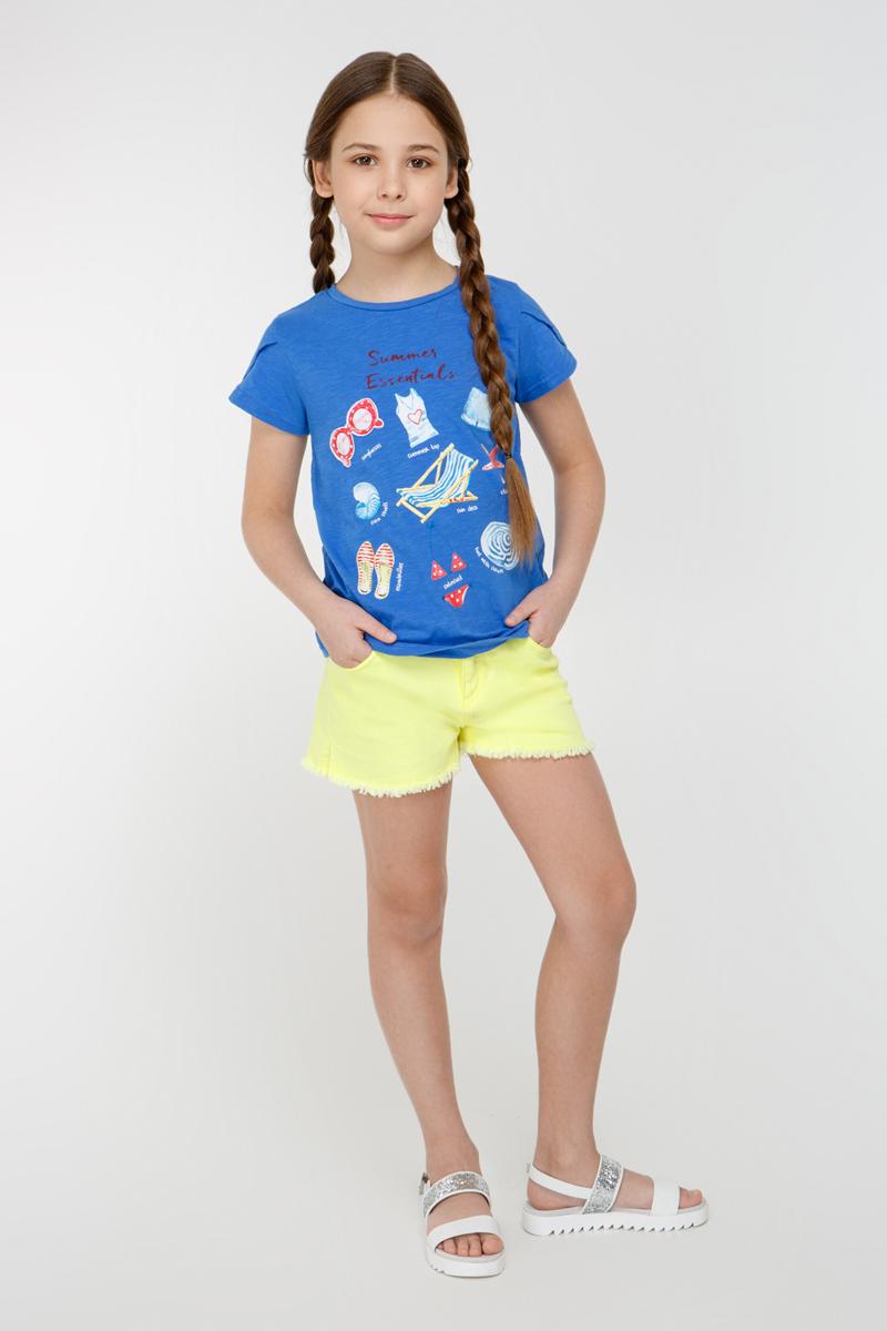 Футболка для девочки Overmoon by Acoola Flamenco 1, цвет: синий. 21210110008_500. Размер 16421210110008_500Трикотажная футболка Overmoon Flamenco 1 декорированная ярким принтом спереди. Модель с круглым вырезом горловины и короткими рукавами-тюльпан.