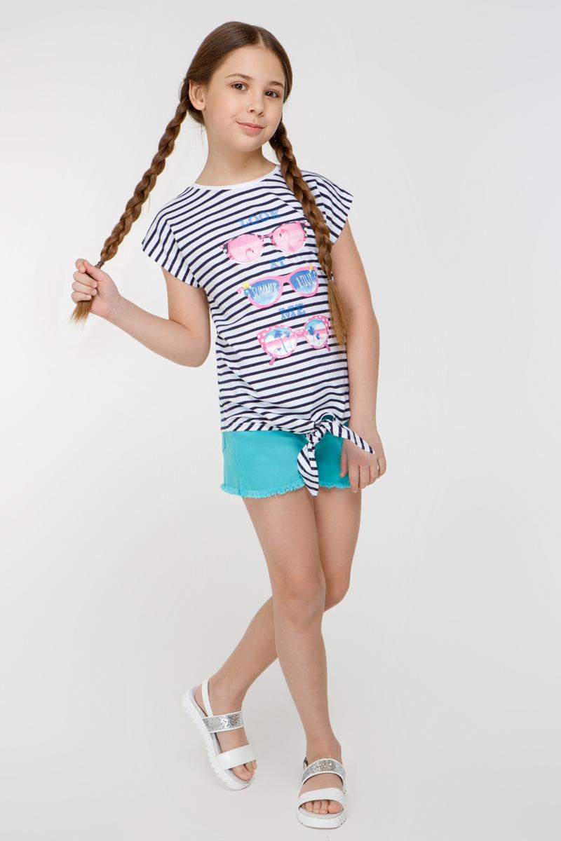 Футболка для девочки Overmoon Cristal1, цвет: синий, белый. 21210110006_8000. Размер 15221210110006_8000Трикотажная футболка Overmoon Cristal1 в полоску, декорированная ярким принтом спереди. Модель с круглым вырезом горловины и декоративным узлом снизу.