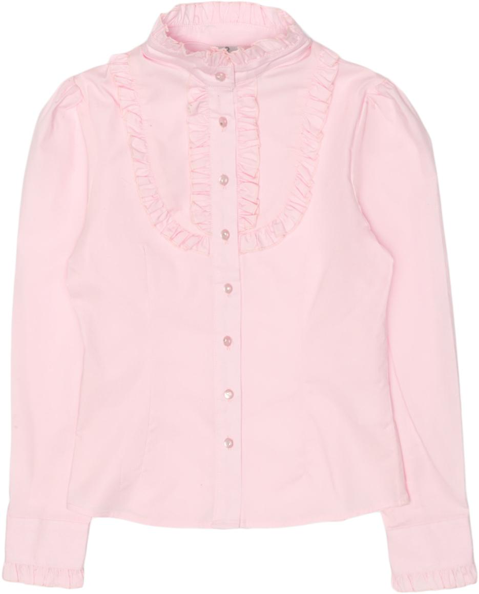 Блузка для девочки Overmoon Bett, цвет: бледно-розовый. 21200260009_3900. Размер 15821200260009_3900Блузка для девочки Luhta Bett выполнена из высококачественного материала и декорирована рюшами. Модель приталенного силуэта с воротником-стойкой и длинными рукавами застегивается на пуговицы.