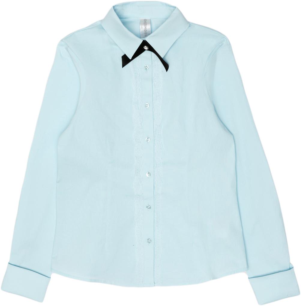 Блузка для девочки Overmoon Kara, цвет: голубой. 21200260007_400. Размер 16421200260007_400Блузка для девочки Luhta Kara выполнена из высококачественного материала. Модель прямого кроя с отложным воротником и длинными рукавами застегивается на пуговицы.
