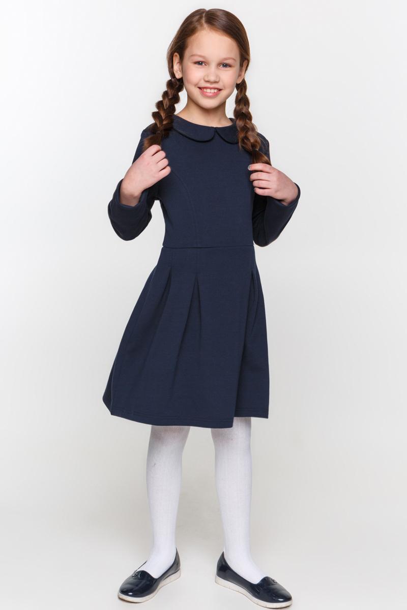 Платье для девочки Overmoon Lastima, цвет: темно-синий. 21200200007_600. Размер 15821200200007_600Платье для девочки Overmoon Lastima выполнен из высококачественного трикотажа. Модель приталенного силуэта с отложным-воротником и длинными рукавами сзади застегивается на молнию.