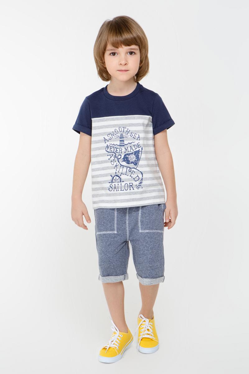 Футболка для мальчика Overmoon by Acoola Thai, цвет: синий, белый. 21120110011_8000. Размер 10421120110011_8000Трикотажная футболка Overmoon Thai в стиле колор блок, декорированная контрастным принтом спереди. Модель с круглым вырезом горловины и отворотами на рукавах.