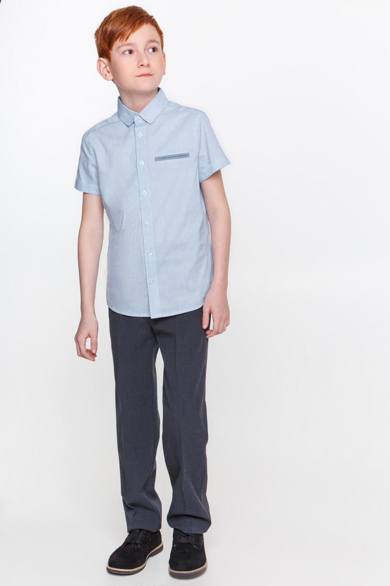 Рубашка для мальчика Overmoon Thellus-1, цвет: голубой, белый. 21100290003_400. Размер 14021100290003_400Рубашка для мальчика Overmoon Thellus-1 выполнена из высококачественного материала. Модель с отложным воротником и короткими рукавами застегивается на пуговицы.