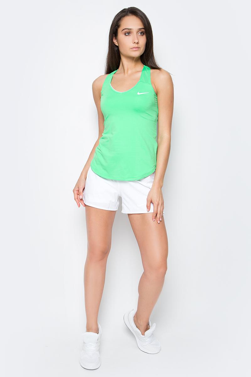 Шорты женские Nike Baseline, цвет: белый. 728785-100. Размер L (46/48)728785-100Женские шорты Baseline от Nike выполнены из эластичного полиэстера. Технология Dri-Fit отводит влагу на поверхность ткани. Дополнительные эластичные шортики внутри обеспечат комфорт. Эластичный пояс и небольшие разрезы по бокам для идеальной посадки.