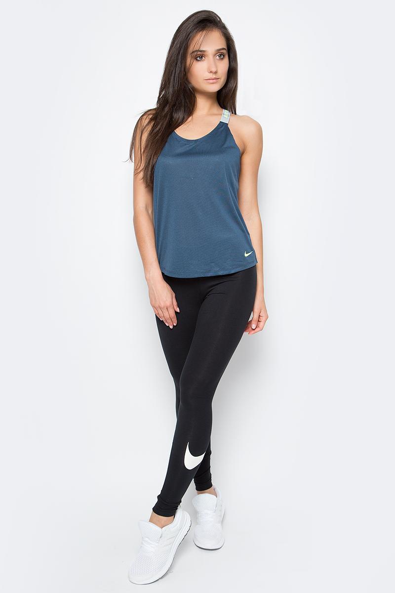 Тайтсы женские Nike Legging, цвет: черный. 830337-010. Размер S (42/44)830337-010Тайтсы Legging от Nike выполнены из невероятно мягкой ткани с особой технологией. Функциональный материал Dri-FIT обеспечивает комфорт. Вставка в области шагового шва увеличивает диапазон движений, отвороты с плотной посадкой позволяют полностью сконцентрироваться на спорте.