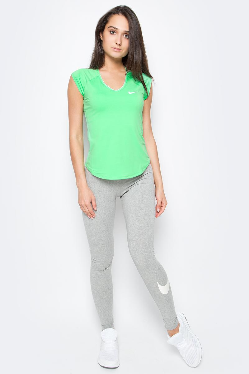 Тайтсы женские Nike Legging, цвет: серый. 830337-063. Размер XL (48/50)830337-063Тайтсы Legging от Nike выполнены из невероятно мягкой ткани с особой технологией. Функциональный материал Dri-FIT обеспечивает комфорт. Вставка в области шагового шва увеличивает диапазон движений, отвороты с плотной посадкой позволяют полностью сконцентрироваться на спорте.