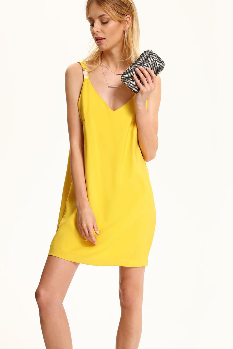 Платье Top Secret, цвет: желтый. SSU1856ZO. Размер 42 (50)SSU1856ZOЯркое платье Top Secret изготовлено из вискозы с добавлением полиэстера. Модель с V-образным вырезом горловины имеет тонкие бретельки, украшенные металлическими декоративными элементами.