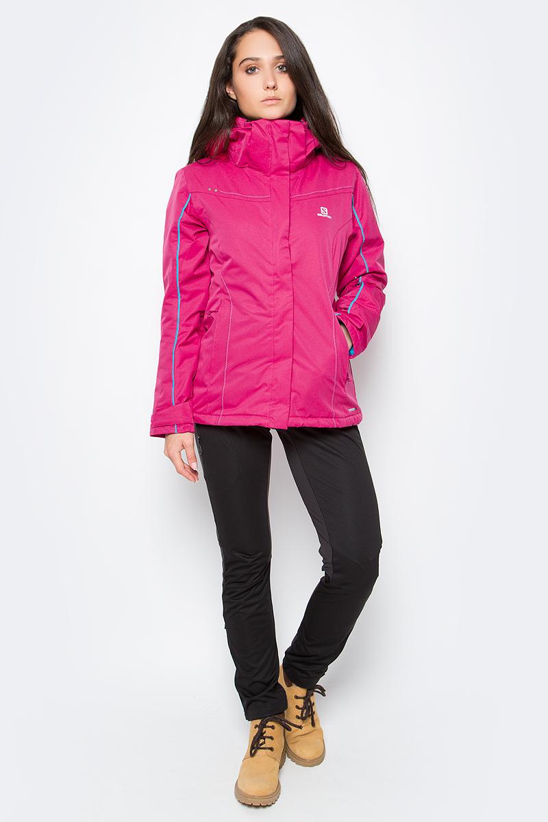 Куртка женская Salomon Stormseeker Jkt W, цвет: розовый. L39215900. Размер S (40/42)L39215900Женская куртка Salomon изготовлена из полиэстера. Модель со съемным капюшоном застегивается на молнию. Сочетание узора в елочку и мягкой ткани придает модели яркий молодежный вид.Теплая и универсальная куртка с защитой 10/10 для катания на горных лыжах.