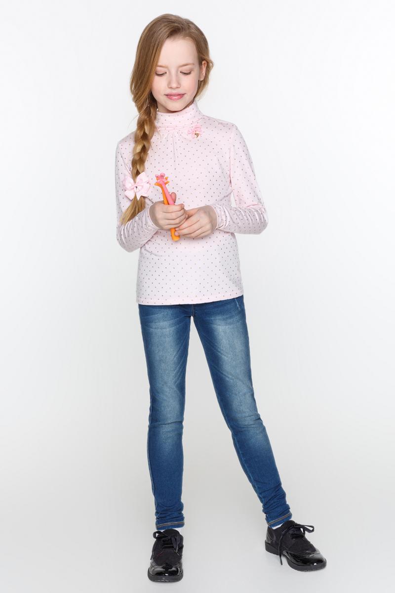 Водолазка для девочки Acoola Gaga, цвет: светло-розовый. 20210100108_3400. Размер 15820210100108_3400Водолазка для девочки Acoola Gaga выполнена из мягкого эластичного трикотажа, с декоративными защипами и бантиком с подвеской у горловины. Модель приталенного силуэта, с воротником-гольф и длинными рукавами.