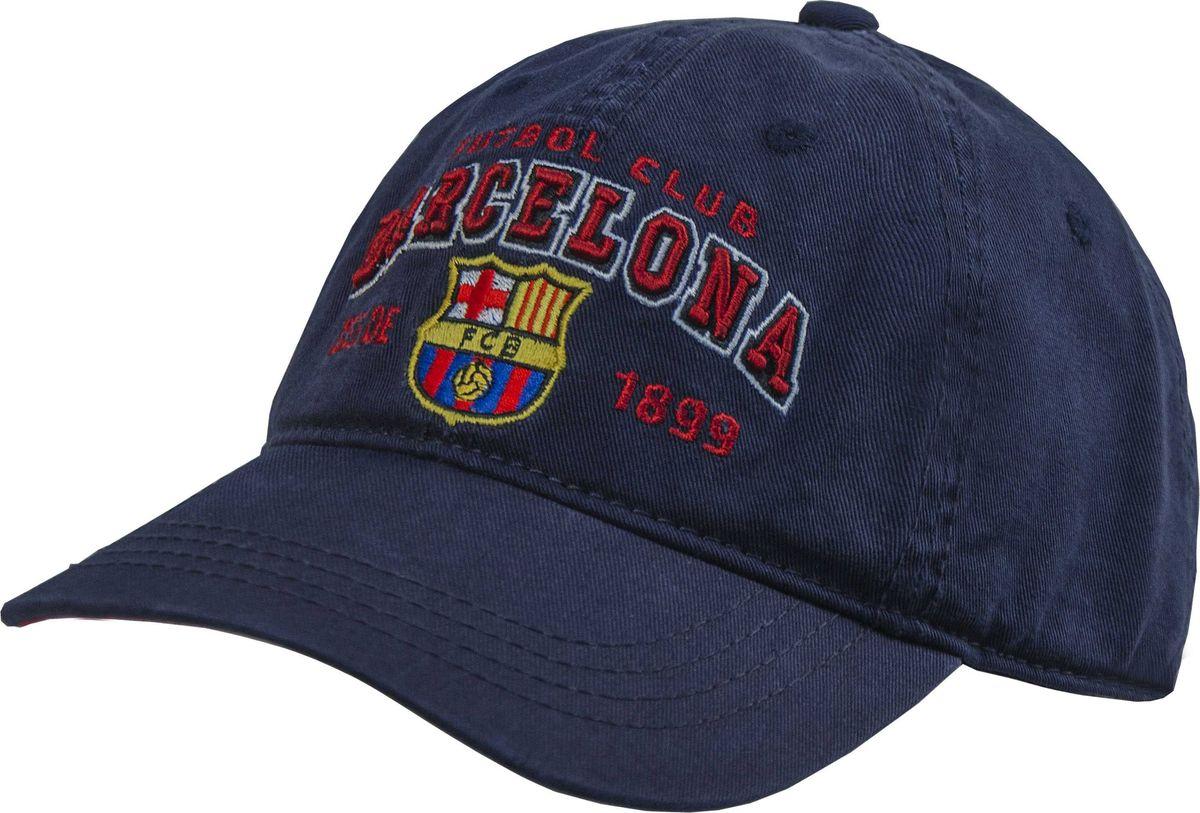 Бейсболка Atributika & Club Barcelona, цвет: темно-синий. 107710. Размер 55/58107710Бейсболка с логотипом ФК Barcelona выполнена из высококачественного материала. Модель дополнена широким твердым козырьком и оформлена объемной вышивкой. Бейсболка имеет перфорацию, обеспечивающую необходимую вентиляцию. Объем изделия регулируется фиксатором.