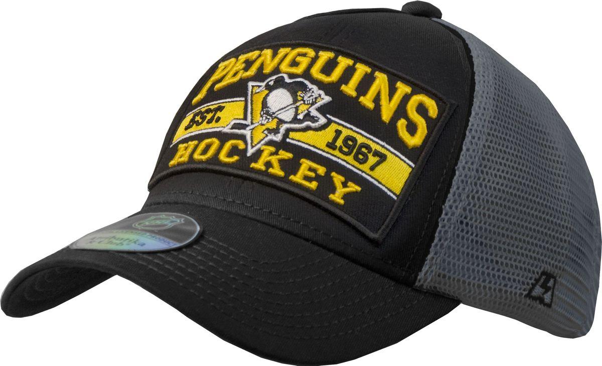 Бейсболка Atributika & Club Pittsburgh Penguins, цвет: черный, серый. 28118. Размер 55/58 - Хоккей