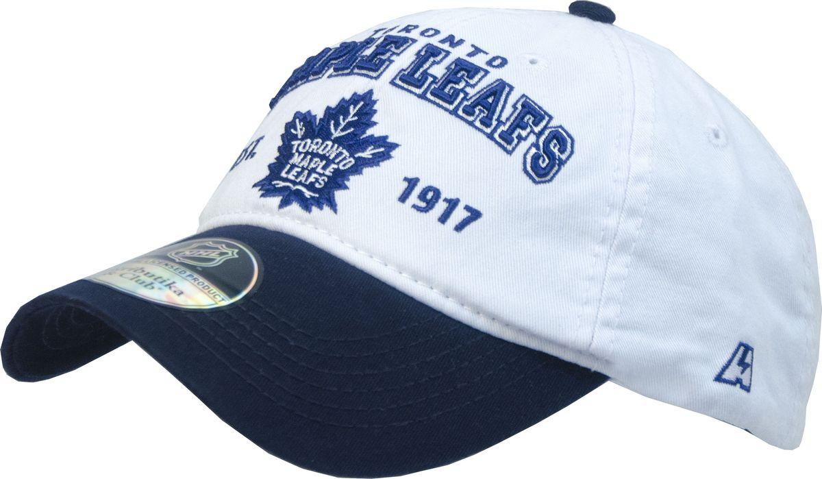 Бейсболка Atributika & Club Toronto Maple Leafs, цвет: белый, синий. 12813. Размер 55/5812813Бейсболка с логотипом ХК Toronto Maple Leafs выполнена из высококачественного материала. Модель дополнена широким твердым козырьком и оформлена объемной вышивкой. Бейсболка имеет перфорацию, обеспечивающую необходимую вентиляцию. Объем изделия регулируется фиксатором.