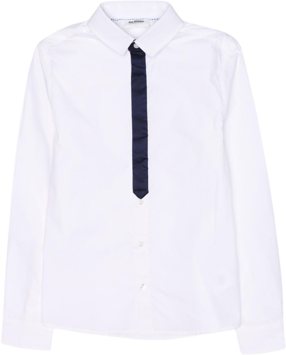 Рубашка для мальчика Acoola Bismuth, цвет: белый. 20100280005_200. Размер 14020100280005_200Рубашка Acoola Bismuth классического кроя из хлопкового поплина, декорированная контрастной вставкой на планке в виде галстука. Модель с классическим отложным воротником и длинными рукавами с манжетами на пуговицах.