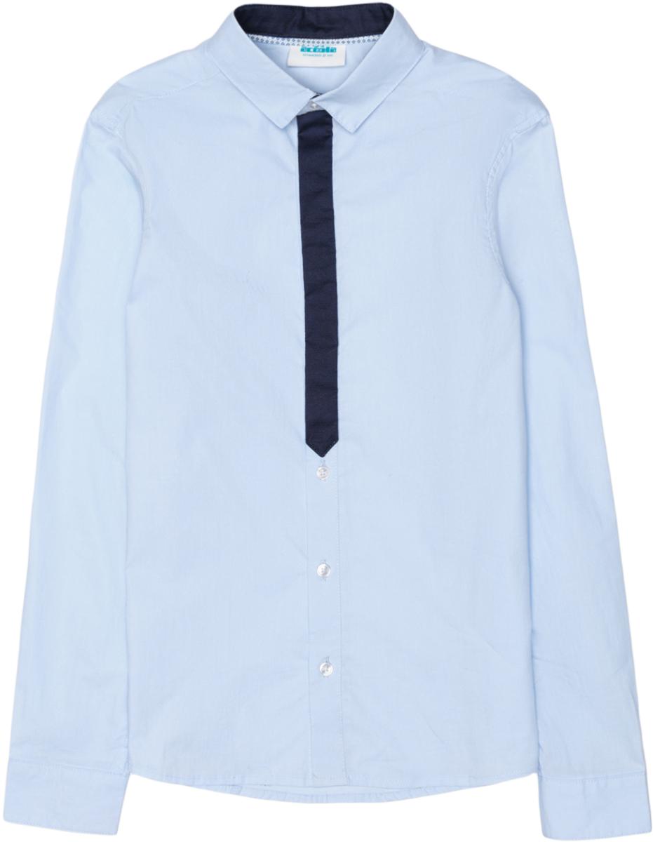 Рубашка для мальчика Acoola Bismuth, цвет: голубой. 20100280005_400. Размер 14020100280005_400Рубашка Acoola Bismuth классического кроя из хлопкового поплина, декорированная контрастной вставкой на планке в виде галстука. Модель с классическим отложным воротником и длинными рукавами с манжетами на пуговицах.