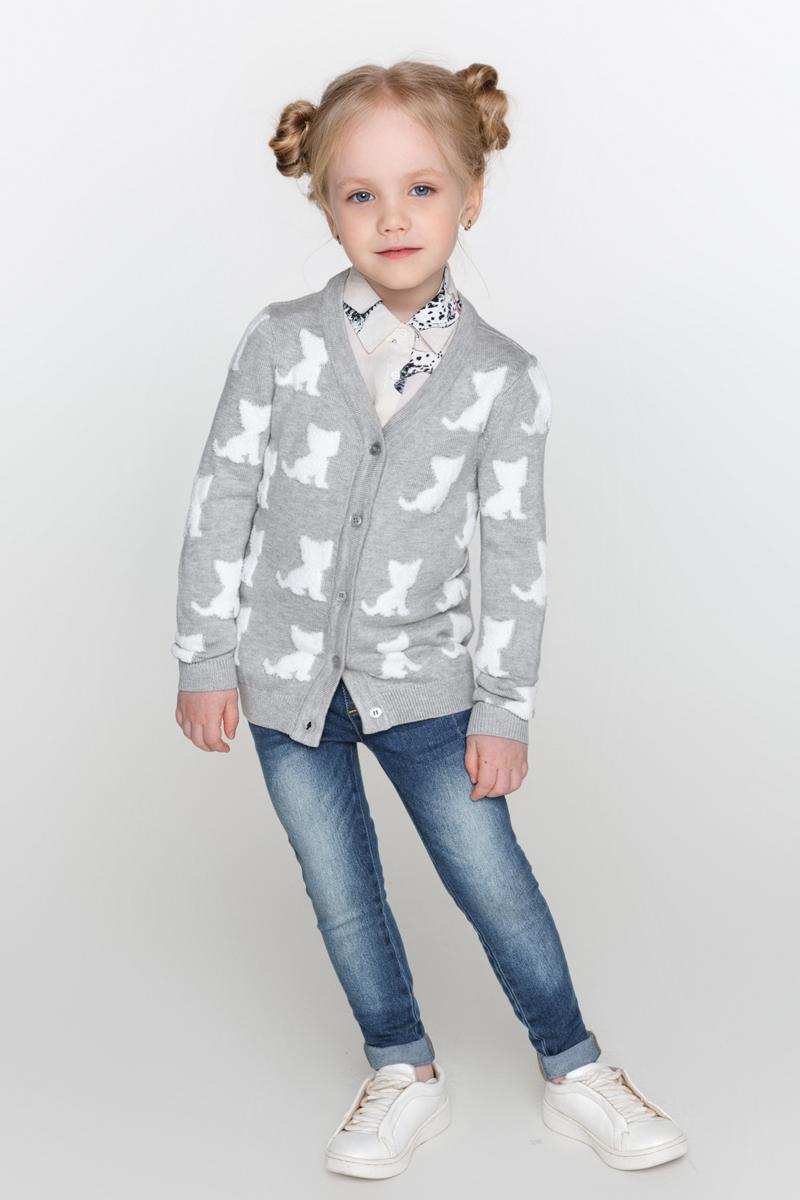 Кофта для девочки Acoola Parrot, цвет: светло-серый. 20220130101_1800. Размер 128 acoola для девочки muse серый