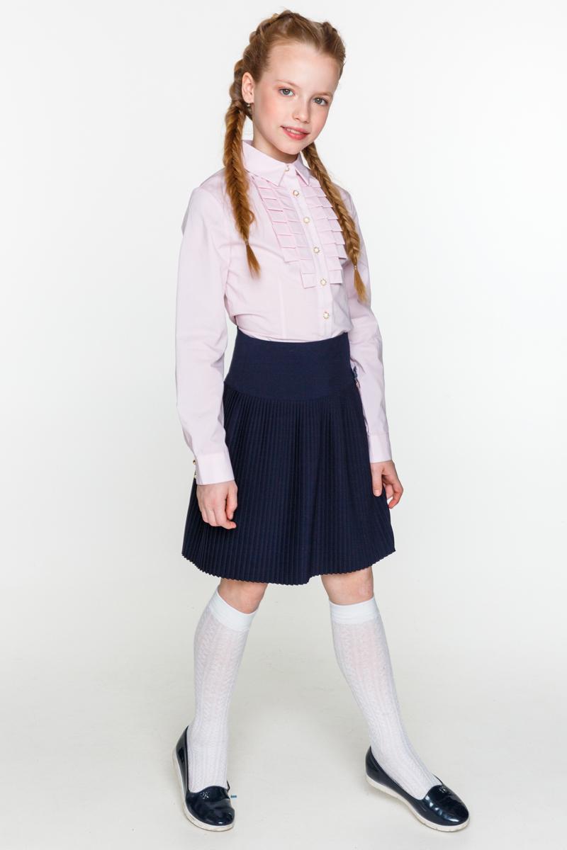 Блузка для девочки Acoola Kappa, цвет: светло-розовый. 20240260020_3400. Размер 14020240260020_3400Классическая блузка для девочки Acoola Kappa выполнена из хлопкового поплина, декорированная складками вдоль планки. Модель приталенного силуэта с классическим отложным воротником, длинными рукавами с манжетами на пуговицах и застежкой на пуговицы спереди.