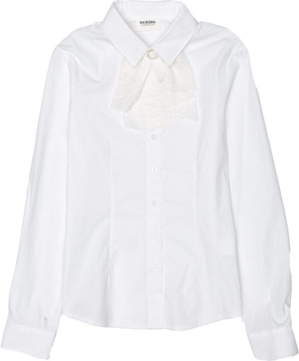 Блузка для девочки Acoola Grey, цвет: белый. 20240260021_200. Размер 16420240260021_200Классическая блузка для девочки Acoola Grey выполнена из хлопкового поплина, декорированная съемным жабо из кружева. Модель приталенного силуэта с классическим отложным воротником, длинными рукавами с манжетами на пуговицах и застежкой на пуговицы спереди.