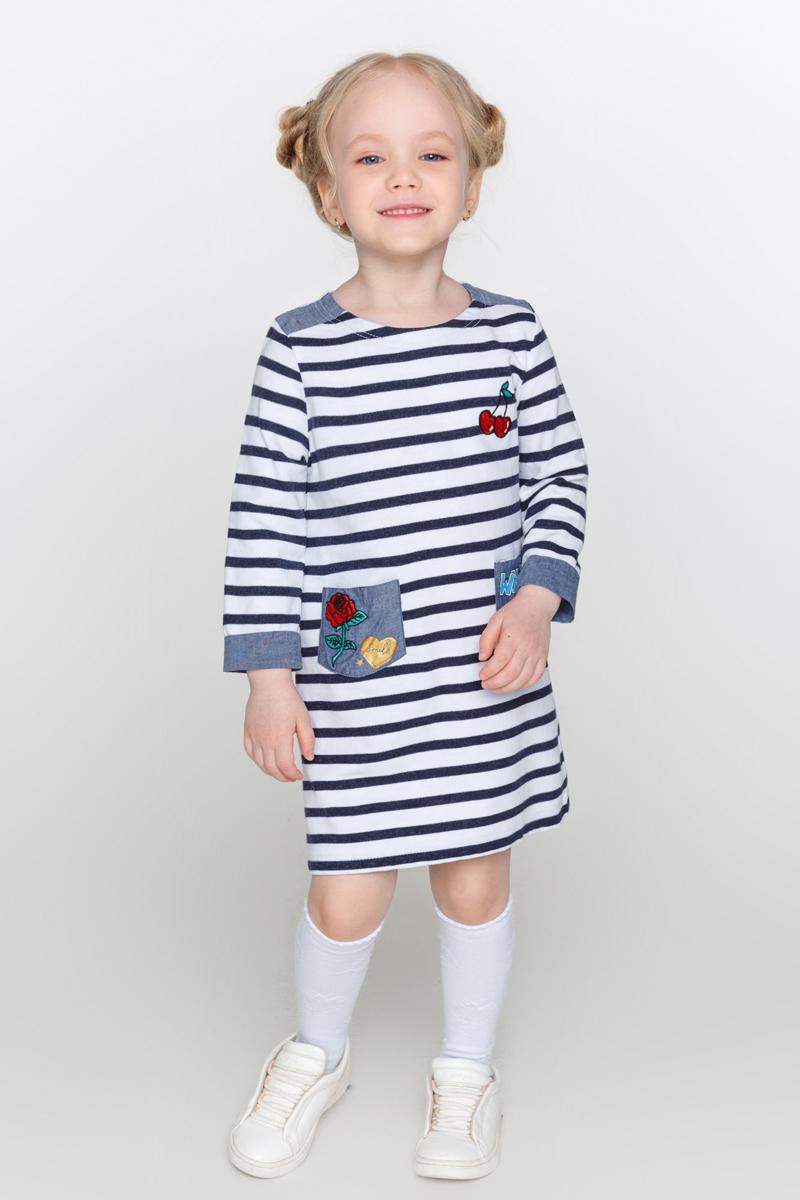 Платье для девочки Acoola Zaz, цвет: темно-синий, белый. 20220200181_4400. Размер 11620220200181_4400Трикотажное платье для девочки Acoola Zaz в полоску, декорированное контрастными вставками из ткани шамбре и яркими нашивками. Модель свободного силуэта с круглым вырезом горловины, рукавами длиной три четверти, двумя накладными карманами спереди и застежкой на одну кнопку сзади.