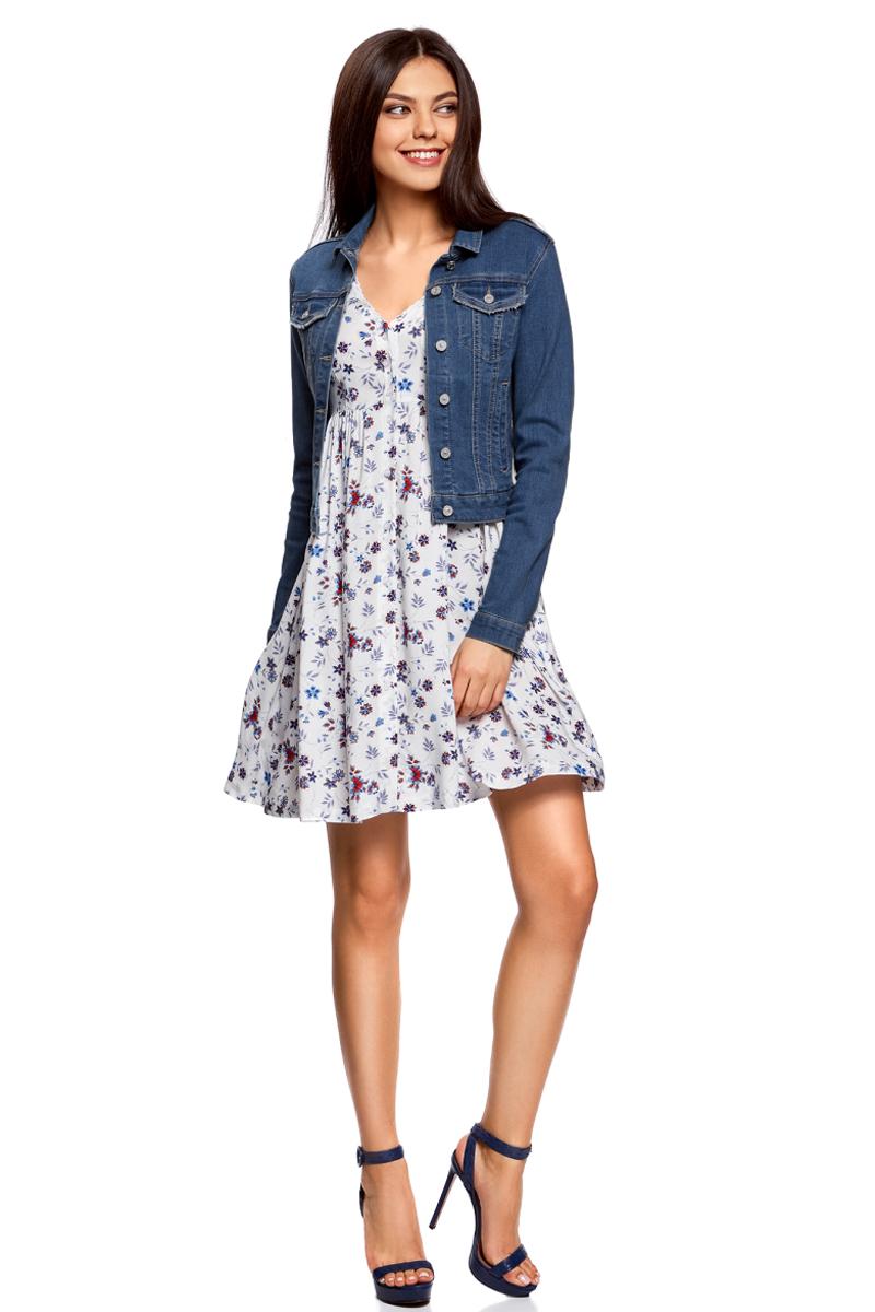 Жакет жен oodji Ultra, цвет: синий джинс. 11109030/46734/7500W. Размер 42-170 (48-170)11109030/46734/7500WКуртка джинсовая базовая