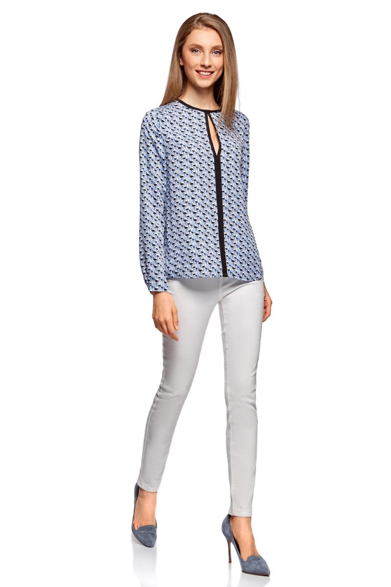 Блузка женская oodji Ultra, цвет: голубой, черный. 11411059B/43414/7029G. Размер 38-170 (44-170)11411059B/43414/7029GМодная женская блузка oodji Ultra изготовлена из высококачественного полиэстера. Модель с длинными рукавами и круглым вырезом застегивается спереди на крючок. Блузка свободного кроя с контрастной отделкой.