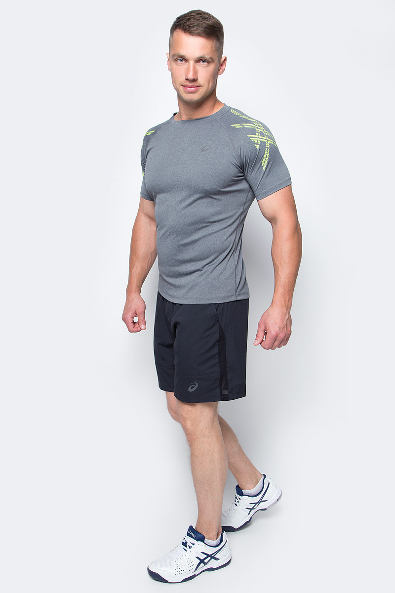 Шорты для тенниса мужские Asics M Club Short 7in, цвет: черный. 141147-0904. Размер XL (52/54)141147-0904Мужские шорты для тенниса Asics M Club Short 7in - это незаменимый атрибут в гардеробе любого спортсмена. Стильные удобные шорты выполнены из высококачественного полиэстера, благодаря чему превосходно сидят, не стесняют движений и великолепно отводят влагу, оставляя тело сухим даже во время интенсивных тренировок. Модель дополнена широкой эластичной резинкой на талии. Шорты имеют два втачных кармана спереди. Модель оформлена логотипом.