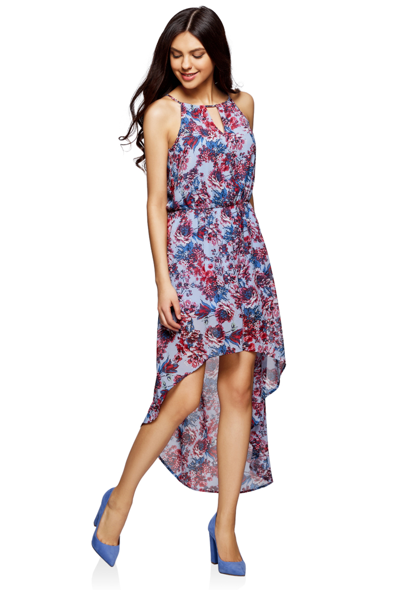 Платье oodji Ultra, цвет: голубой, красный, цветы. 11910064-3M/35271/7045F. Размер 36-170 (42-170)11910064-3M/35271/7045FПлатье из легкой ткани с асимметричным низом