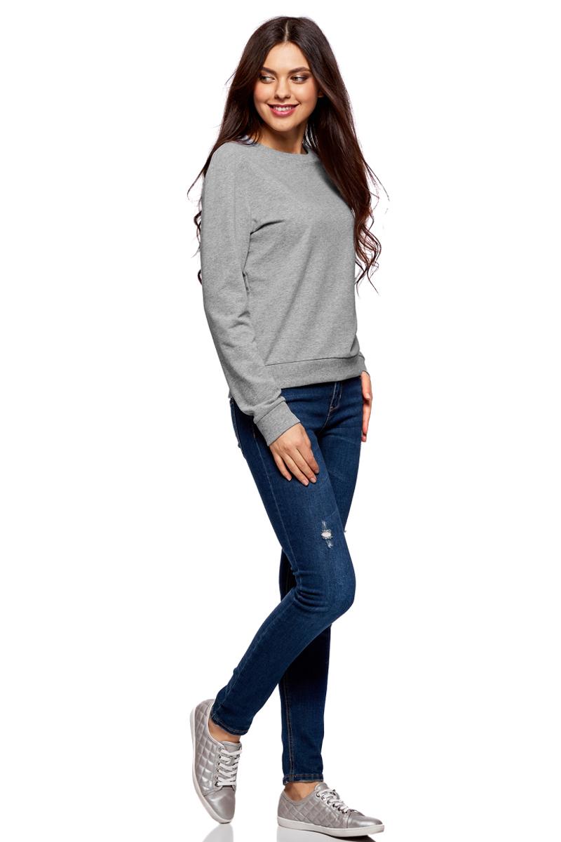 Джемпер жен oodji Ultra, цвет: светло-серый меланж. 14808015/46151/2000M. Размер XXL (52)14808015/46151/2000MСвитшот хлопковый базовый