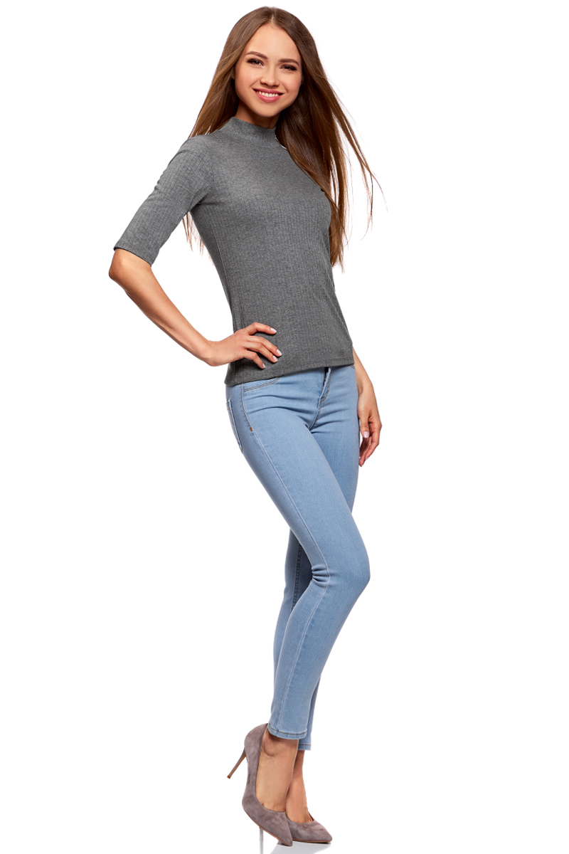 Джемпер жен oodji Ultra, цвет: темно-серый меланж. 15E01002-2/46464/2500M. Размер XS (42)15E01002-2/46464/2500MВодолазка трикотажная с рукавом до локтя