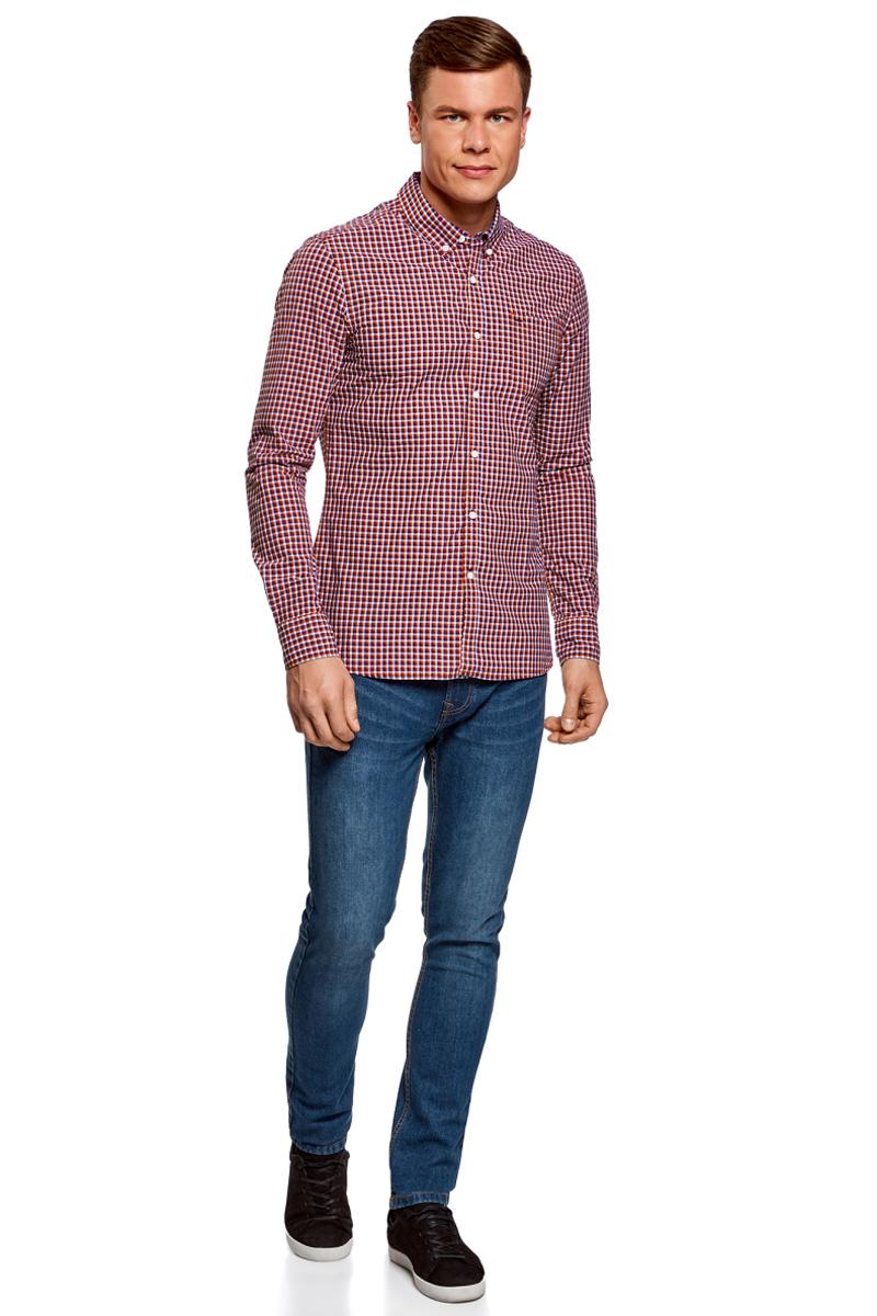 Рубашка муж oodji Lab, цвет: красный, темно-синий, клетка. 3L310145M/39511N/4579C. Размер XXL-182 (58/60-182)3L310145M/39511N/4579CРубашка в клетку с нагрудным карманом