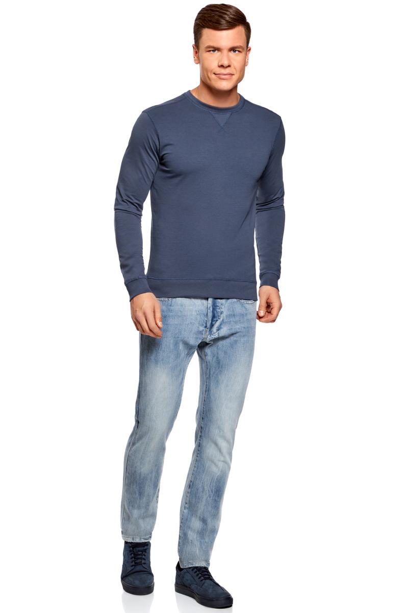Джемпер мужской oodji Basic, цвет: синий. 5B113002M/46928N/7500N. Размер M (50)5B113002M/46928N/7500NМужской джемпер от oodji выполнен из натурального хлопкового трикотажа. Модель с длинными рукавами и круглым вырезом горловины.