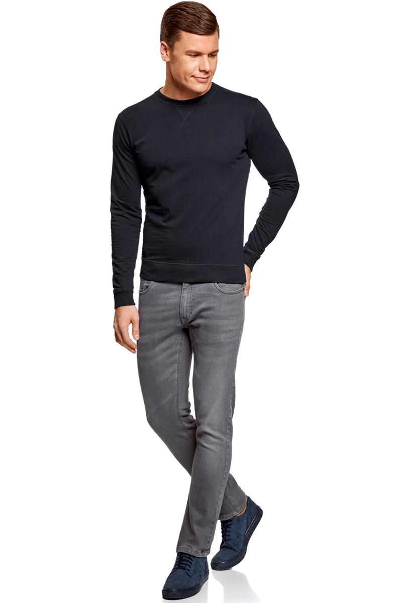 Джемпер муж oodji Basic, цвет: темно-синий. 5B113002M/46928N/7900N. Размер L (52/54)5B113002M/46928N/7900NСвитшот базовый хлопковый
