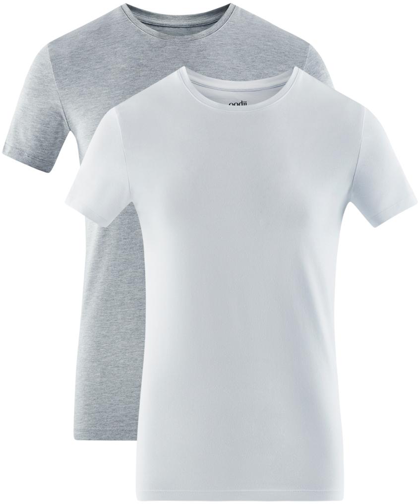 Футболка мужская oodji Basic, цвет: серый, белый, 2 шт. 5B611004T2/46737N/1902N. Размер L (52/54)5B611004T2/46737N/1902NМужская базовая футболка от oodji выполнена из эластичного хлопкового трикотажа. Модель с короткими рукавами и круглым вырезом горловины. В комплект входит две футболки.