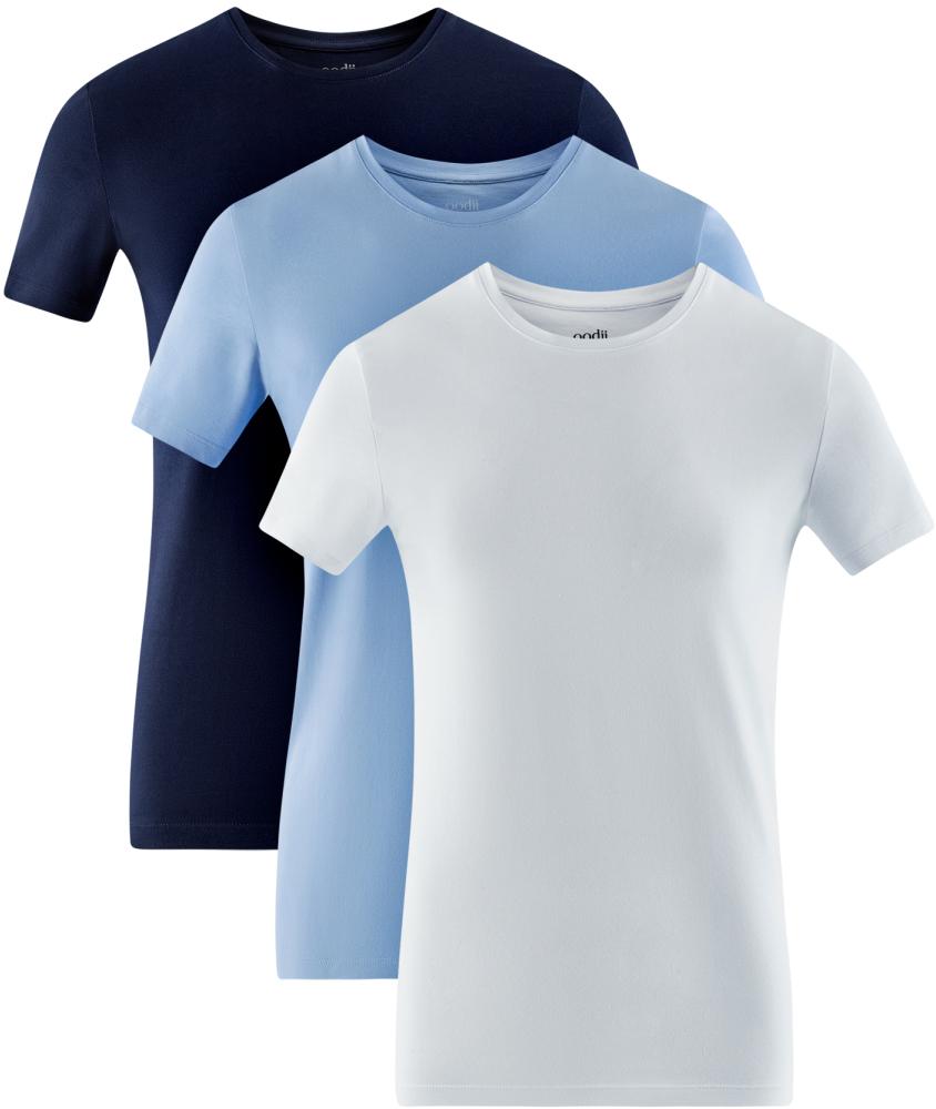 Футболка мужская oodji Basic, цвет: темно-синий, голубой, белый, 3 шт. 5B611004T3/46737N/1901N. Размер XS (44)5B611004T3/46737N/1901NМужская базовая футболка от oodji выполнена из эластичного хлопкового трикотажа. Модель с короткими рукавами и круглым вырезом горловины. В комплекте 3 футболки.