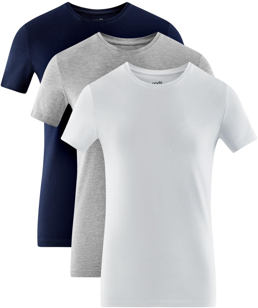 Футболка мужская oodji Basic, цвет: темно-синий, серый, белый, 3 шт. 5B611004T3/46737N/1903N. Размер XL (56)5B611004T3/46737N/1903NМужская базовая футболка от oodji выполнена из эластичного хлопкового трикотажа. Модель с короткими рукавами и круглым вырезом горловины. В комплект входит три футболки.