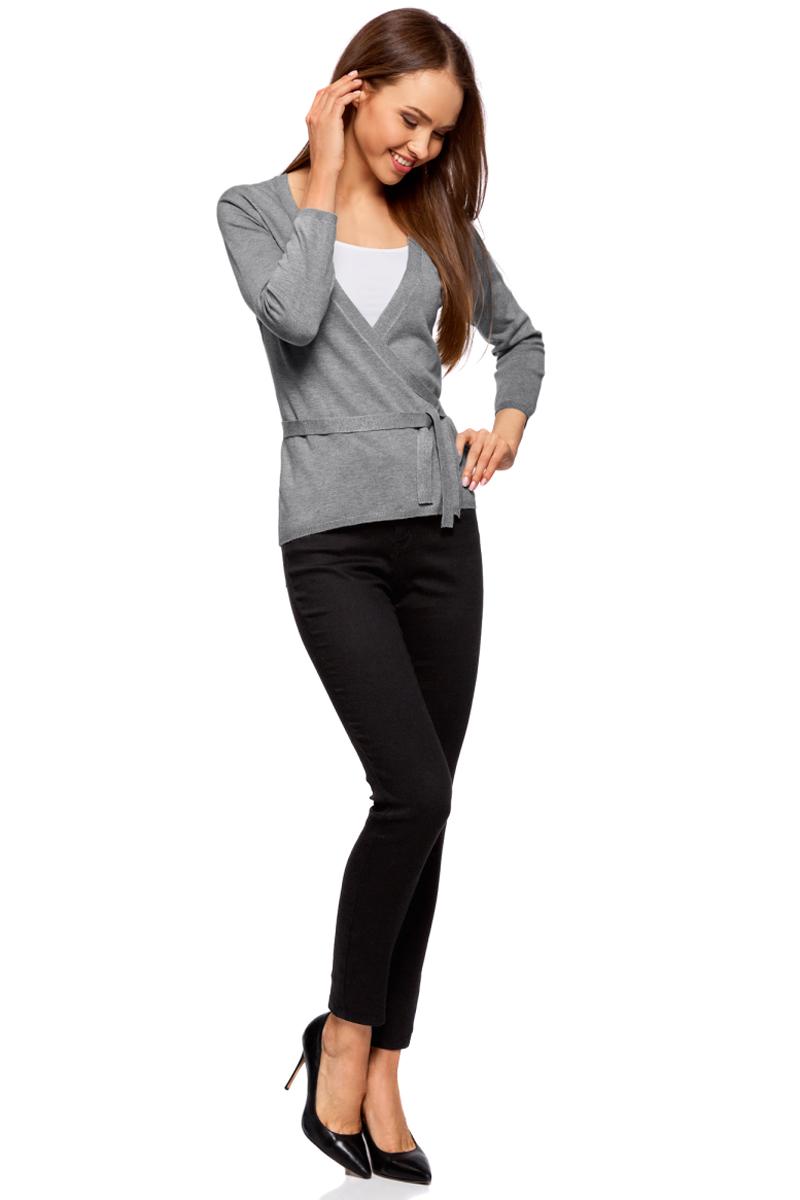 Кардиган женский oodji Ultra, цвет: серый меланж. 63212495-2B/45641/2300M. Размер S (44)63212495-2B/45641/2300MЖакет трикотажный с запахом