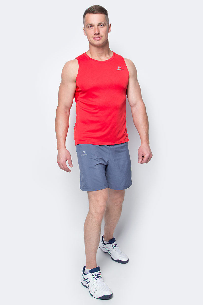 Шорты для бега мужские Salomon Trail Runner Short, цвет: синий. L39385700. Размер M (48/50)L39385700Свободные легкие беговые шорты для мужчин Trail Runner изготовлены из качественного полиэстера. Шорты с удобными карманами в задней части пояса идеально подходят для занятий различными видами спорта в любое время года.