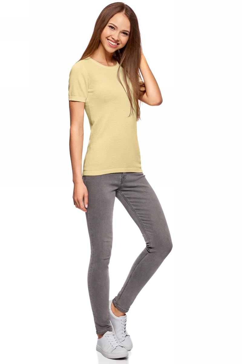 Джемпер жен oodji Knits Ultra, цвет: светло-желтый. 63812605B/46629/5000N. Размер M (46)63812605B/46629/5000NДжемпер вязаный с коротким рукавом