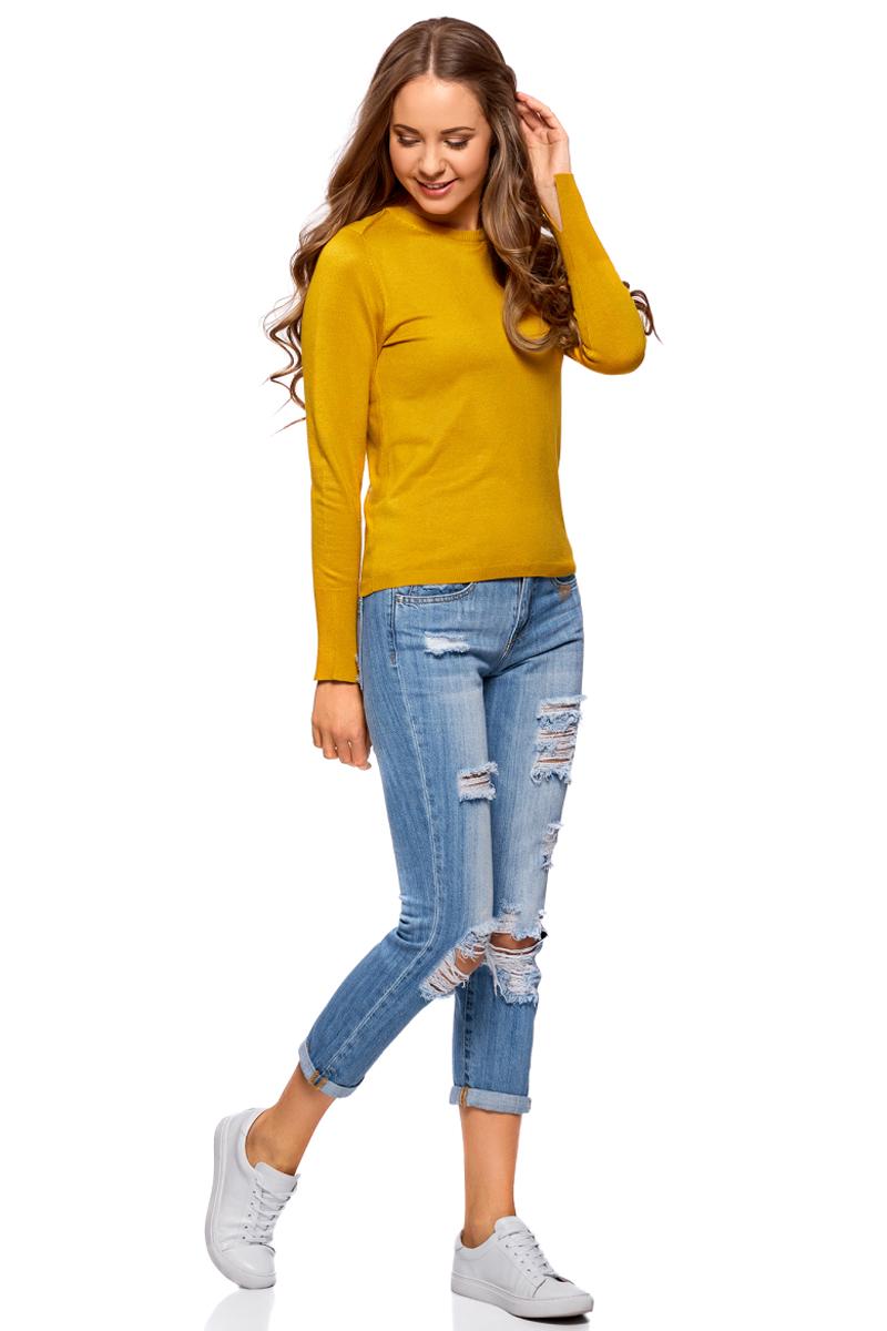 Джемпер женский oodji Collection, цвет: желтый. 73812659-1B/45641/5200N. Размер XL (50)73812659-1B/45641/5200NЖенский джемпер от oodji выполнен из вискозной пряжи с добавлением полиамида. Модель с длинными рукавами и круглым вырезом горловины. Манжеты на рукавах дополнены разрезами.